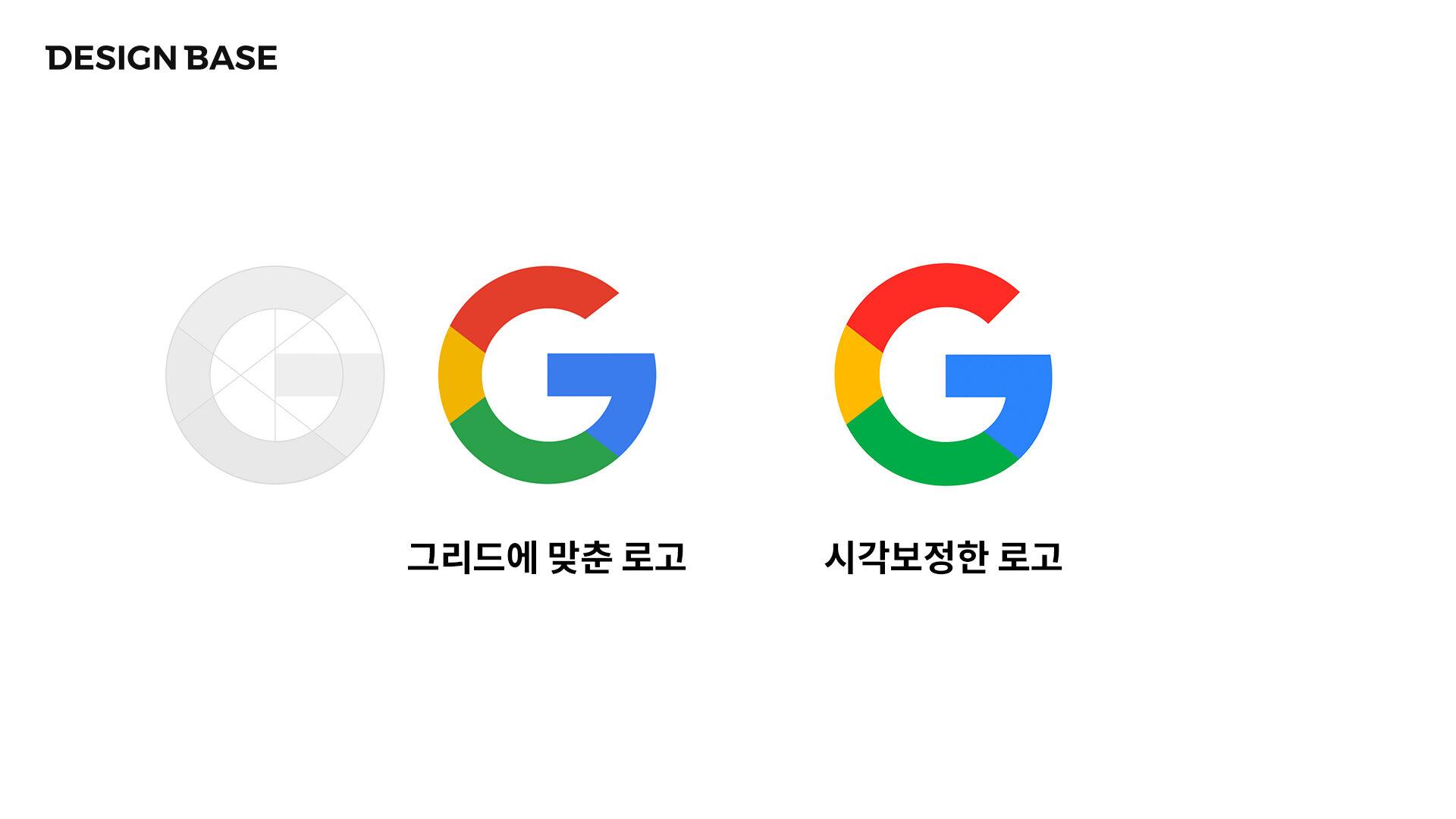 좌측은 기하학적 그리드에 맞춘 로고, 우측은 시각보정된 구글 로고
