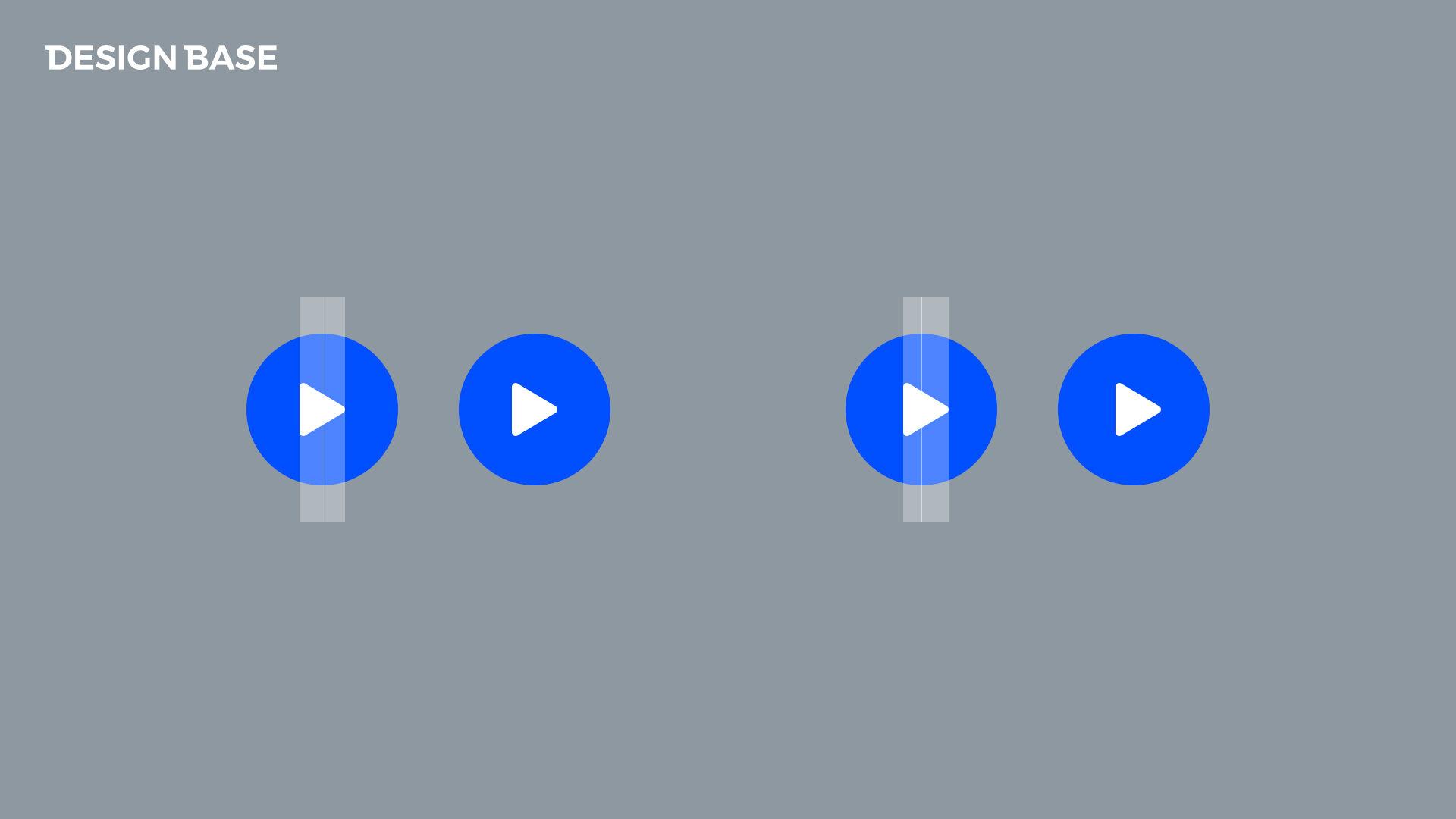 좌측 : 중앙 정렬 시 삼각형의 무게중심 때문에 정렬로 보이지 않음 / 우측 : 무게중심을 생각해서 우측으로 이동해야 중앙 정렬로 느낌