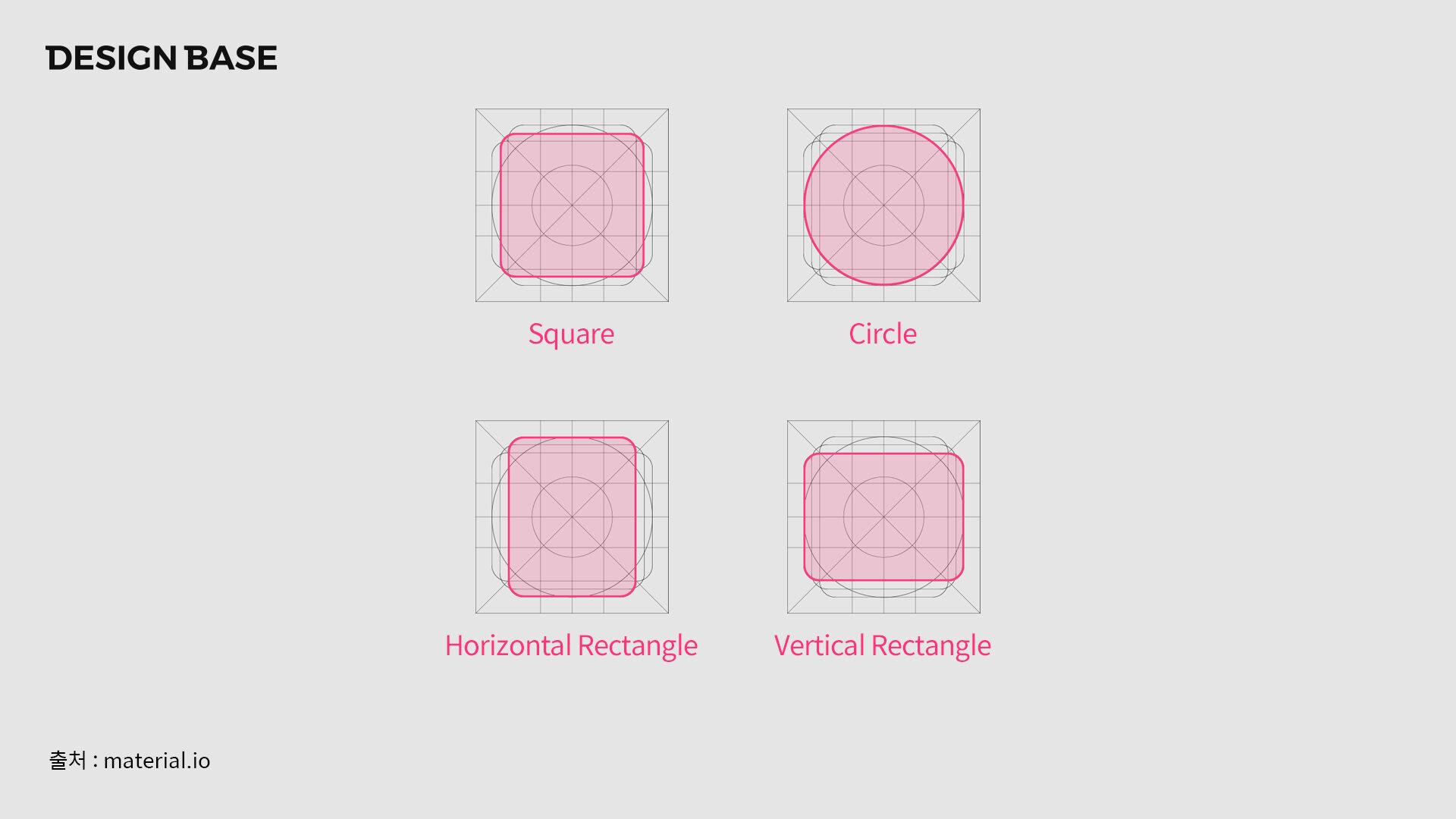 머티리얼 디자인 가이드라인에서 아이콘을 제작할때 시각보정으로 인한 키라인 제공